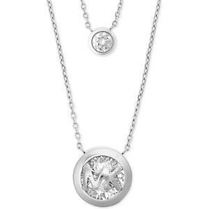 NEW Silver Double Row Brilliant Necklace